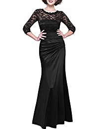 Miusol Damen Elegant Hochzeit Abendkleid Rundhals Schwarze Spitzen Brautjungfer Cocktailkleid Vintage Cocktailkleid Langes Kleid