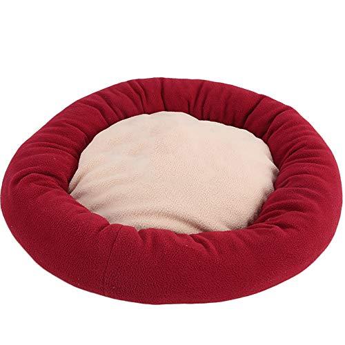 TREESTAR Haustierbett für Hunde und Katzen, rund, Bedruckt, warm, Kissen aus Plüsch, waschbar für kleine Hunde, mittelgroße Katzen S-50 cm/M-55 cm, Rouge - 50cm, 50 cm