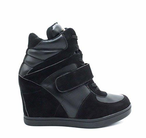 Baskets Compensées Femmes Montantes – Chaussure Sneakers Bimatière De Ville Talon Haut - Tennis Casuel en Daim Scratch Lacet– Imitation Suède – Chic Mode Tendance, Noir, 38 EU