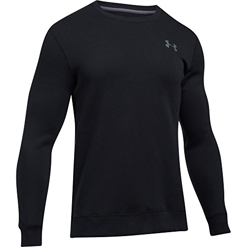 Under Armour, Rival Solid Fitted Crew, Felpa, Uomo, Nero (Black/Graphite 001), L