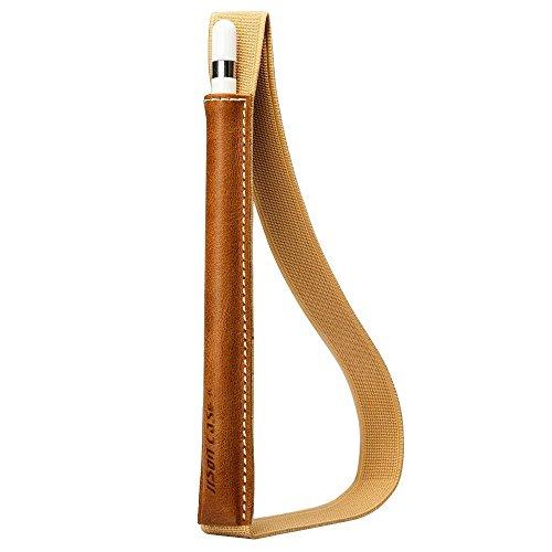 Jisoncase Klasse Halter Apple Pencil Leder Stiftehalter für Apple 9.7 Zoll / 12.9 Zoll / 10.5 Zoll iPad Pro Stift Ledertasche Hülle aus echtem Leder, braun, JS-APL-01A20