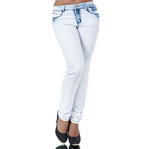 H725 Damen Jeans Hose Damenjeans Röhrenjeans Röhrenhose Röhre Skinny High Waist, Farben:Hellblau;Größen:40 (L)