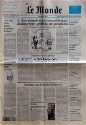 MONDE (LE) [No 15731] du 24/08/1995 - L'ONU PRESSE LE ZAIRE D'ARRETER LES EXPULSIONS DE REFUGIES - M. CHIRAC DEMANDE AU GOUVERNEMENT D'ENGAGER DES CHANGEMENTS PROFONDS SANS PRECIPITATION - UN CINEASTE ANGLAIS EN AMERIQUE - LES ENFANTS DE L'OVULE ET DU SPERMATIDE PAR JEAN-YVES NAU - CONTRESENS FRANCAIS DANS LE PACIFIQUE SUD PAR FREDERIC BOBIN - UN FLEUVE QUI RESSEMBLE A LA MER - LES PERSPECTIVES DE LA CROISSANCE MONDIALE - LES DIFFICULTES FINANCIERES D'EUROTUNNEL - ASSOUPLISSEMENT DE LA PO par Collectif
