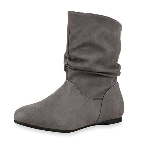 Damen Schlupfstiefel Lederoptik Stiefeletten Bequeme Schuhe Grau