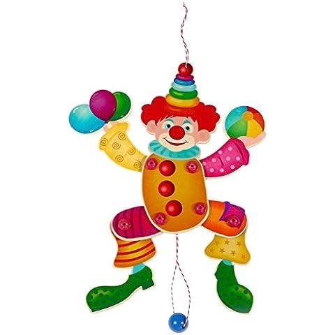 Hess 12427 - Bambino Giocattolo in Legno, Jumping Jack Colorato Clown