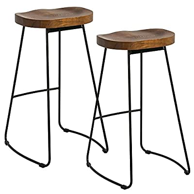 Popamazing 2 x Vintage Rustic Kitchen Pub Bar Stools Set with Black Metal Frame and Solid Wood Seat Industrial Style - inexpensive UK light store.