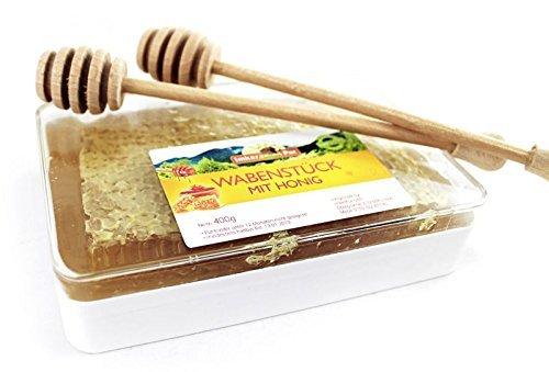 ImkerPur Wabenstück in hocharomatischem Akazien-Honig (Jahrgang 2017), 3er-Set, jeweils 400 g (gesamt 1200g), in hochwertiger, lebensmittelechter Frische-Box