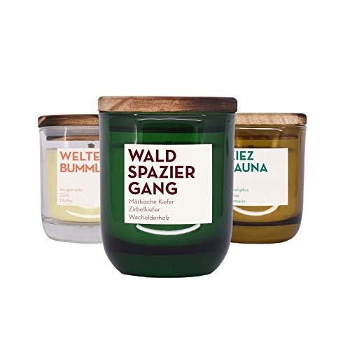 Minze Duftkerze (UpCandle aus Berlin - 3er Set von Duftkerzen aus Rapswachs und natürlichen ätherischen Ölen in Recycling-Glas (3X 150 ml))
