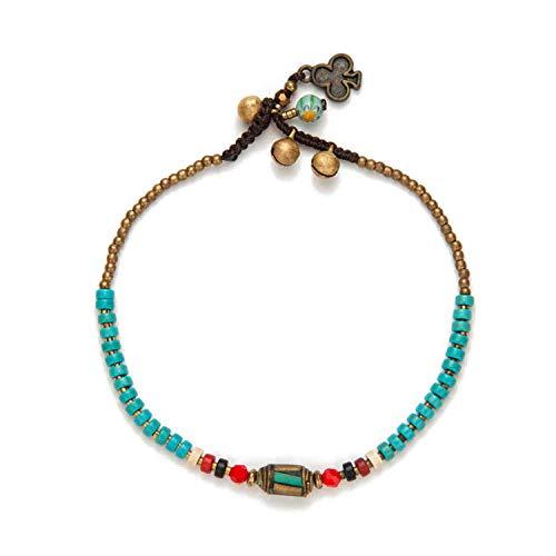 7ab4b7f71 HIWSSH Gürtel-Handmade Tibetan Round Charm Leg Anklets For Women Color  Small Beaded Chain Ankle