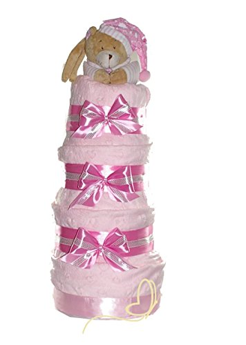 Preisvergleich Produktbild Windeltorte rosa für Mädchen - Little Princess - inkl. Babydecke, Greifling mit Name, Spieluhr Bär - Windelgeschenk zur Geburt, Taufe, Babyshower