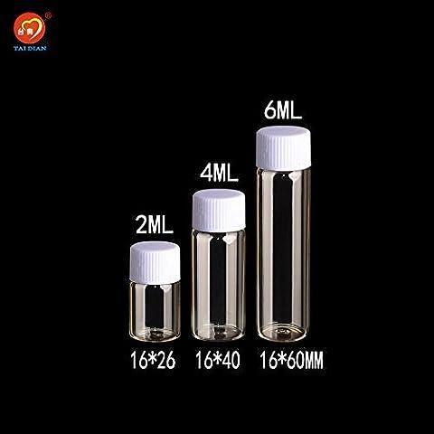 Generic 4ml: 2ml 4ml 6ml bouteilles en verre avec bouchon à visser Plastique Transpat clair Mini fioles bouteilles en plastique bocaux Cosmétique conteneurs 100pcs