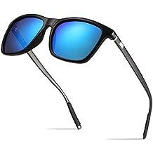 BOYOU Polarizado Wayfarer Gafas de Sol Aviador Mujer Hombre Retro Vintage Al-Mg Metal Super