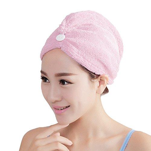 HGDGears Mikrofaser Kopfhandtuch turban handtuch trockenhaube Haar Kappe haartrockentuch saugfähige tuch (Rosa)