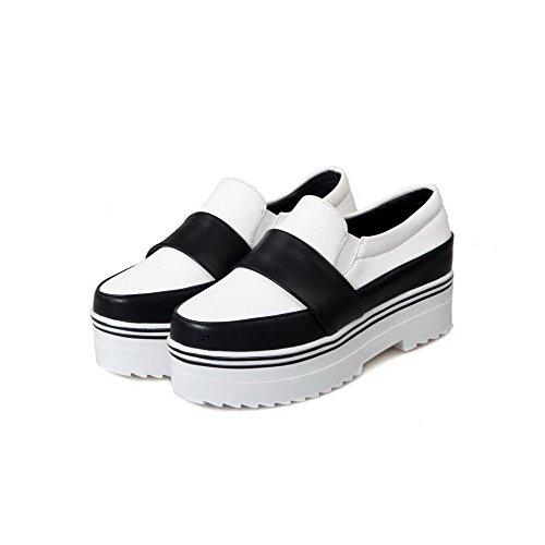 AllhqFashion Damen Mittler Absatz Gemischte Farbe Ziehen Auf Rund Zehe Pumps Schuhe Weiß