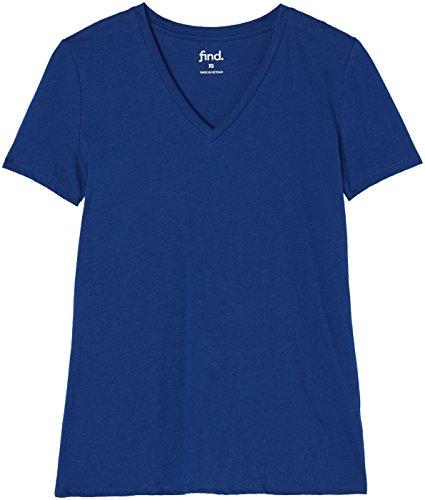 FIND Damen T-Shirt mit V-Ausschnitt Blau