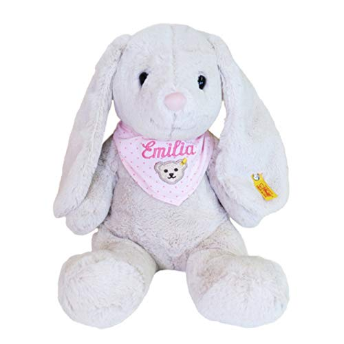Steiff Hoppie Hase mit Wunschnamen auf Steiff Collection Halstuch rosa bestickt 38 cm 080487 Soft Cuddly Friends Geschenkset