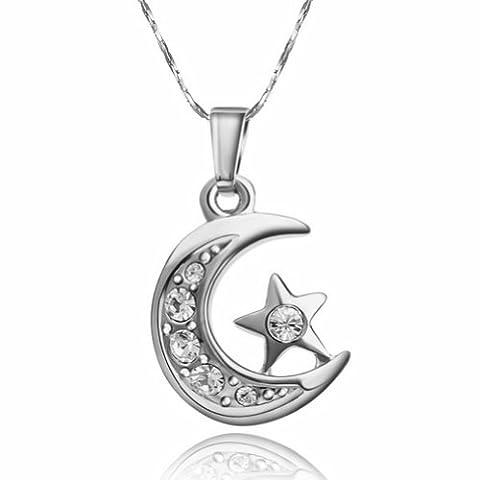 Yoursfs Collier fantaisie Lune et étoile 18k plaqué Or blanc Pendentif en Oxyde de zirconium pour Femme ou Fille comme Accessoire ou