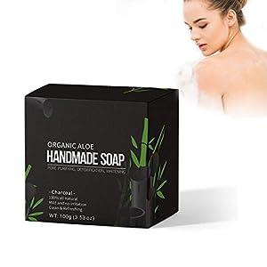 100 g de aceite de carbón vegetal hecho a mano bambú exfoliante poros encoger blanquear el jabón facial, hidratante e…