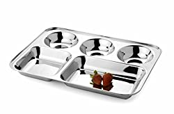 Mayur Exports Stainless Steel Compartment Plate - 5 in 1
