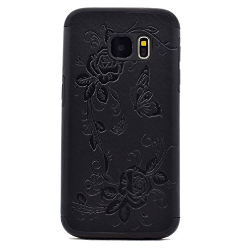 inShang Coque Samsung Galaxy S7 Housse Etui Plastique Case ductile TPU Black butterfly flower