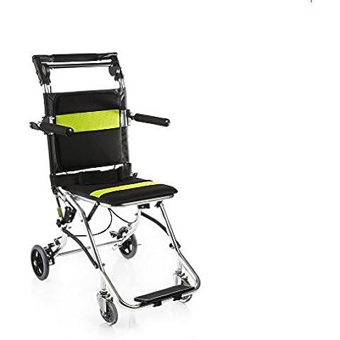 Ligero de ancianos silla de ruedas de aluminio sillas de ruedas portátil plegable carro de la mano