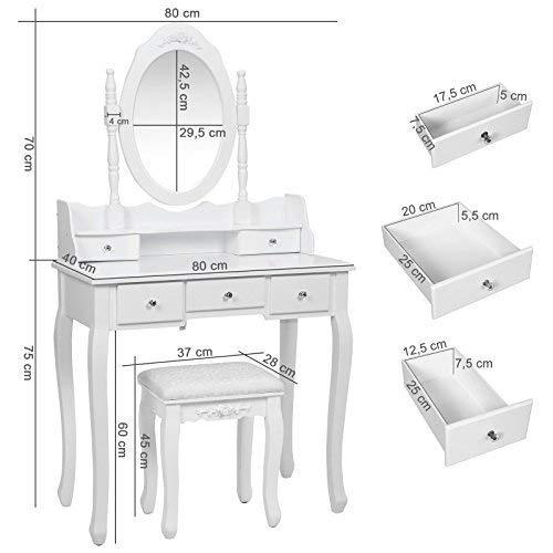 Songmics 5 Schubladen Schminktisch mit Spiegel Hocker, inkl. 2 Stück Unterteiler, Kippsicherung, weiß 80 x 145 x 40 cm (B x H x T) RDT15W - 18