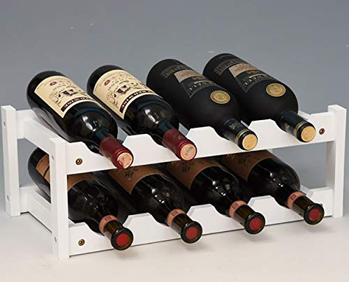 Handmade wine rack nature bamboo solid wood 16 carbonization process bottles for home mounted bar, bamboowhite, 8