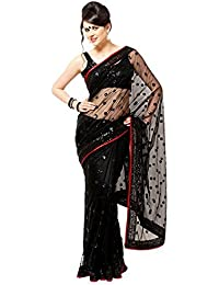 Veeraa Net Saree With Blouse Piece (6_Black_Free Size)