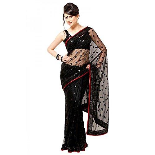 Veeraa Net Saree With Blouse Piece (6_Black_Free Size)