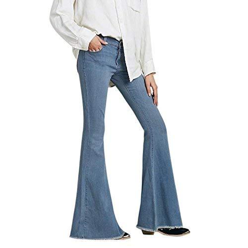 semen Damen Jeans Schlag Weite Jeanshose Bootcut Flared Jeans Schlank Casual Stretch Denim Hosen (EU42=Tag 31, Hell Blau)