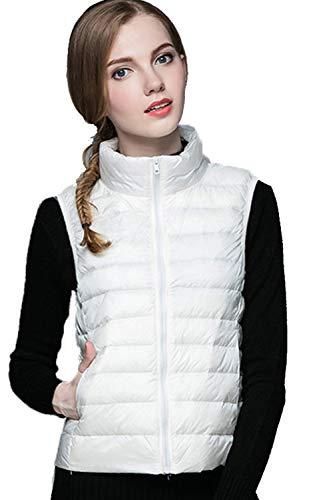 DUSISHIDAN Daunenweste Damen Ultra Leicht Steppweste dünne Winter Mantel Winterjacke Daunenmantel mit Aufbewahrungstasche Weiß M