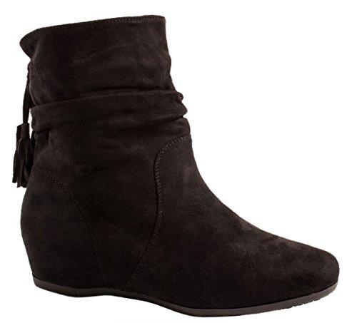 Hidden Wedge Boot (Elara Damen Schlupfstiefel | Bequeme Klassiche Stiefeletten | Hidden Wedges Boots Wildlederoptik Schwarz 39)