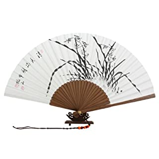 Hand Painted Folding White Paper Bamboo Art Asian Oriental Black Chinese Ink Orchid Painting Wall Deco Korean Handheld Wooden Decorative Fan