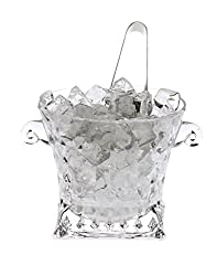 Clear Glass New Design Ice Bucket with Tongs -B01 Product Dimensions - (LXBXH - 15 x 15 x 13) cms