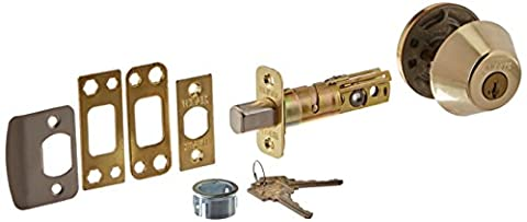 WEISER LOCK GD9471X 3 SMT K4 MS RLR2 Single Cylinder Deadbolt, Bright Brass