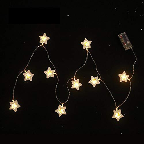 (FLYWS Weihnachtsschmuck Pentagramm LED Lampe Serie Home Shopping Mall Fenster Festival Holzanhänger)