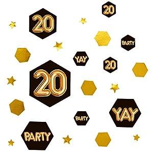 Neviti- Glitz & Glamour Birthday Black & Gold Confetti Scatter-Age 20 Confeti, Color black/gold, 5 x 1 x 5 (774281)