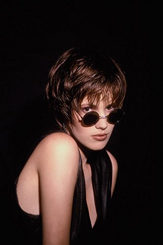 747072 Girl In Black Leather Waistcoat With Sunglasses A4 Photo Poster Print 10x8