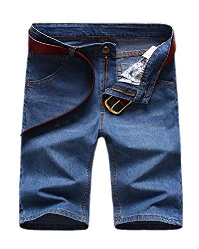 Minetom Herren Denim Bermuda Jeans Shorts Sommer Kurze Hose Basic Jeanshose Destroyed Used-Look Stretch Jogger Cargo Freizeithose C Blau 02 W34/Taille 86CM