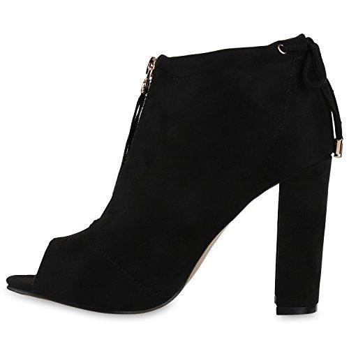 Damen Stiefeletten Sandal Boots High Heels Zipper Schuhe Schwarz