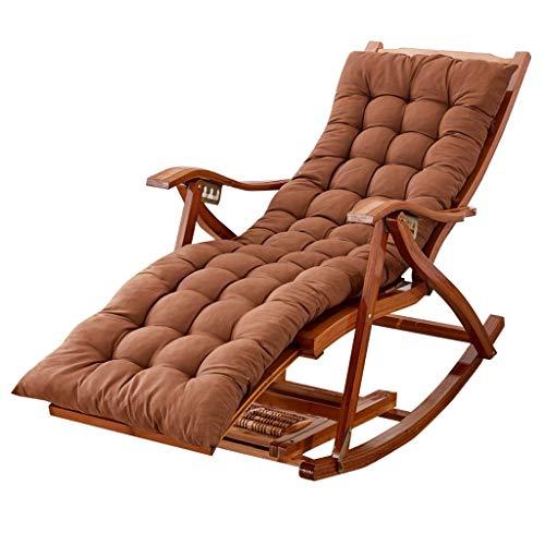 Lhnly-sdraio sedia a dondolo per soggiorno giardino balcone | poltrona relax pieghevole per bambino adulto con cuscini imbottiti e poggiapiedi |sun-loungers per sunbath, max.150kg