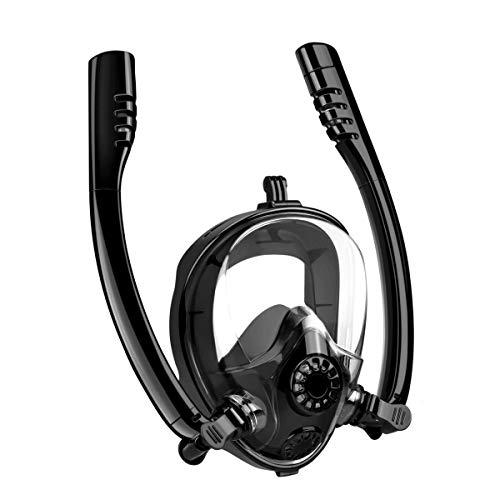 Monja Tauchmaske, Vollmaske Schnorchelmaske, mit 180°Sicht, Ultra Scientific Atmungssystem Anti-Fog Anti-Leck mit Abnehmbarer Kamera-Halterung für Kinder und Erwachsene (Schwarz, L/XL)