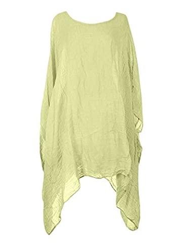 Ladies Womens Italian Lagenlook Quirky Short Batwing Sleeve Plain Linen Kaftan Loose Baggy Oversize Tunic Top Blouse One Size Plus (One Size Plus, Pale Yellow)