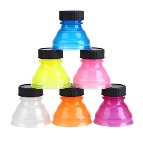 Hemore 6 Stück Trinkflaschen-Verschlusskappe Staubdicht Wiederverwendbar Snap On Pop Can Convert Soda Savers Bottle Caps für Cool Coke Drink Deckel (gemischte Farbe) -