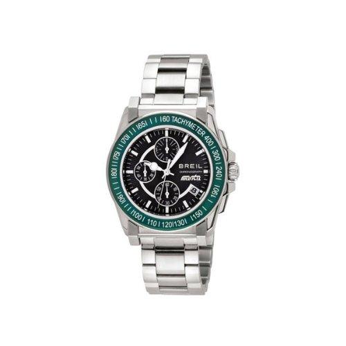 Breil tw0787 orologio al quarzo da uomo con display a cronografo nero e cinturino argento in acciaio inox