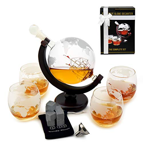 Whisky-Dekanter-Set - Globe Gläser - Einweihungsgeschenke - Scotch Geschenk-Set - Globe Dekanter für Whisky, Scotch und Likör, 927 ml Likör-Dekanter-Set - Whisky-Dekanter - Glaskaraffe mit Geschenkbox Scotch Dekanter