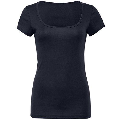 Sheer mini rib scoop neck t-shirt Bella Canvas Streetwear Shirts Donna Midnight