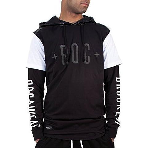 Rocawear Hombre Niño Brooklyn Doble Manga camiseta larga Sudadera Con Capucha Cremalleras Hip Hop
