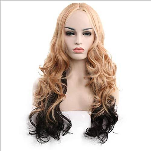 (Frauen Schwarz-Weiß Perücke modische realistische Hochtemperatur-Seide lange Haare Perücke)
