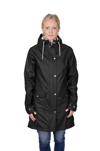 Jet Schwarz 2 Jacke (Tretorn Regenjacke Erna Raincoat Damen, Jet Black, M)
